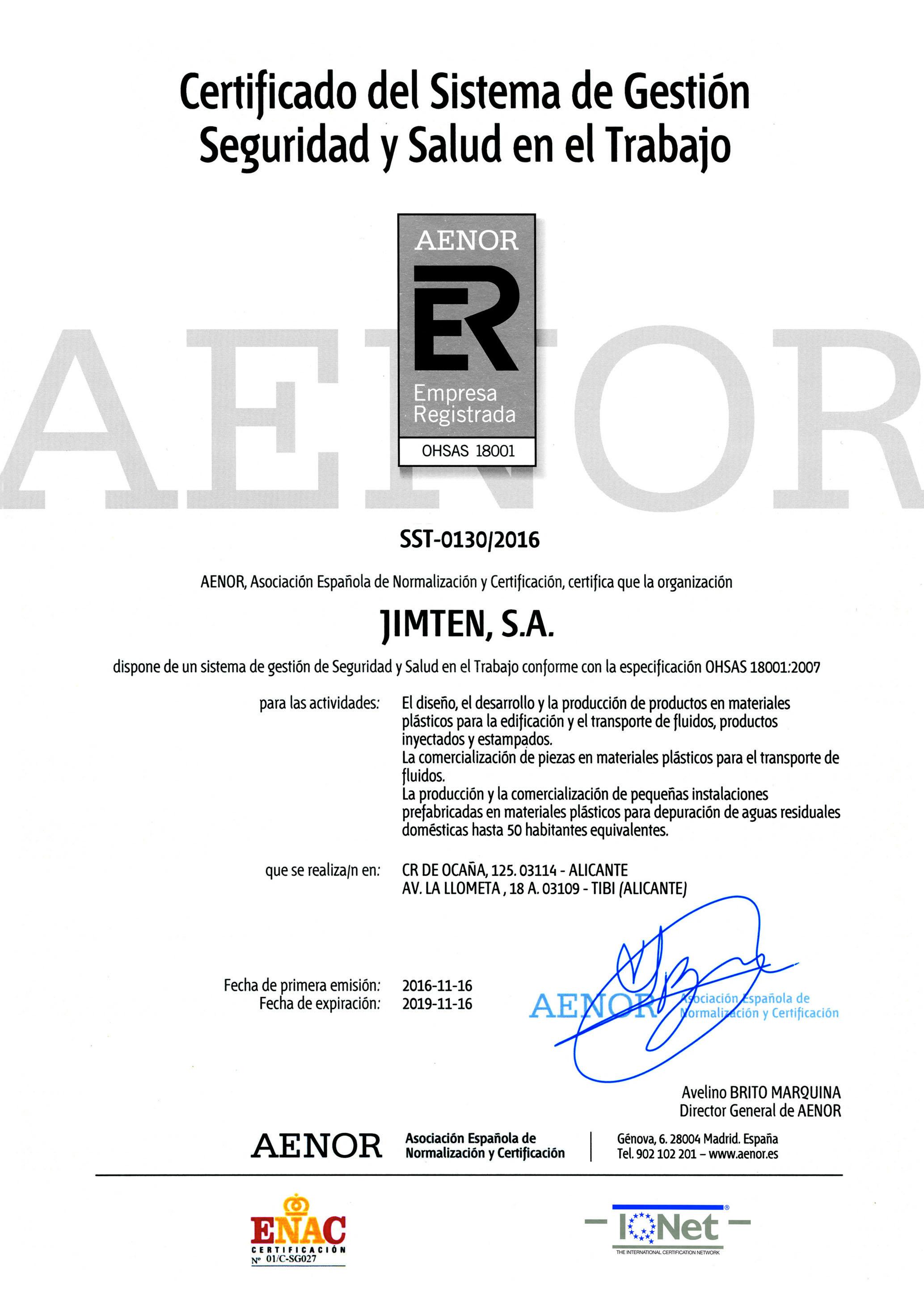 Certificado Jimten ER OHSAS 2019