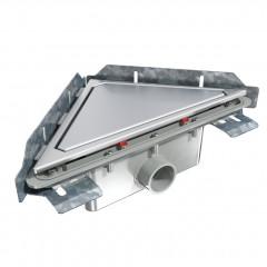 S-790 - Сифонный напольный трап треугольный - горизонтальный выход под вклейку
