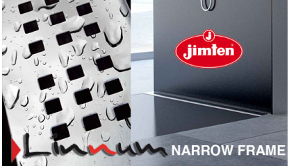 LINNUM:Slot drainage channels for tiled showers with grid and NARROW FRAME option