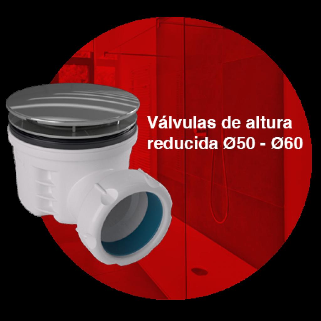 Válvulas plato de ducha altura reducida Ø50-60